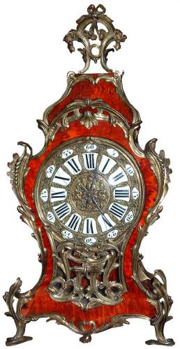 A Magnificent 19th Century Louis XV Red Tortoiseshell and Ormolu Clock No. 2751