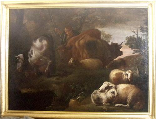 A Palazzo-Scaled 17th Century Old Master Oil on Canvas of a Pastoral Scene No. 3638