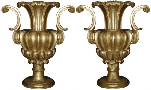 A Magnificent Pair of 18th Century Baroque Giltwood Urns No. 3642