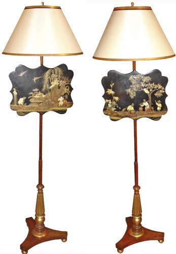 A Pair of 19th Century Chinoiserie and Parcel Gilt and Polychrome Fire Screens No. 3242