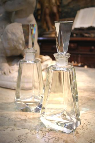 A Pair of French Cut Crystal Pyramidal Decanters No. 283