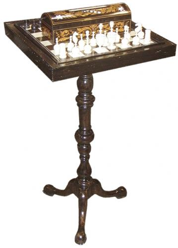 A 19th Century Bone and Ebony Chess Set No. 3689