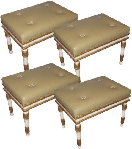 A Set of Four 19th Century Polychrome and Parcel-Gilt Neoclassical Benches No. 3660