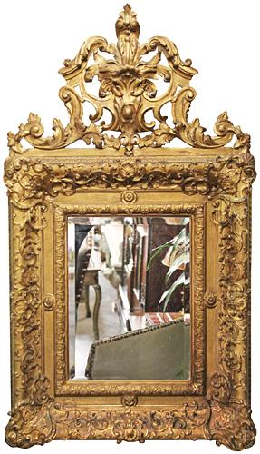 A Diminutive 19th Century French Louis XV Giltwood Mirror No. 3702