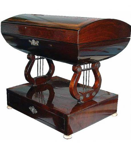 A Rare 1840 Italian Empire Mahogany Sewing Box No. 2717