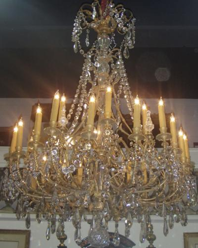 A Late 18th Century Italian 24 light Crystal and Ormolu Chandelier No. 3633