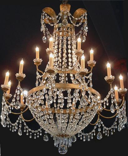 An Unusual and Elegant 18th Century Italian Crystal and Parcel Silver Gilt 18-Light Chandelier No. 2465