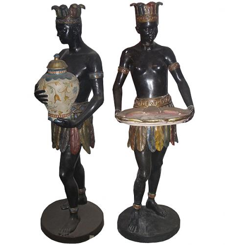A Palazzo-Scaled Pair of 18th Century Polychrome and Parcel Gilt Venetian Blackamoors No. 3717