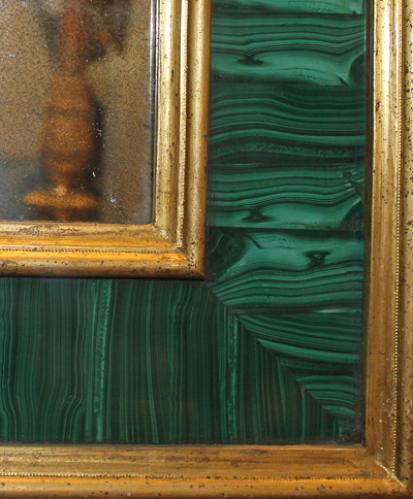 A Magnificent Pair of 18th Century Russian Louis XVI Malachite and Gilt Wood Pier Mirrors No. 3722