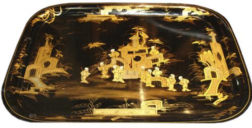A 19th Century English Black Lacquer Chinoiserie Serving Tray No. 3255