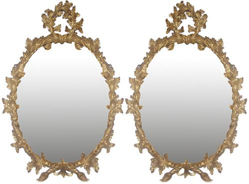 A Pair of 18th Century English Gilt Wood Oval Mirrors No. 3726