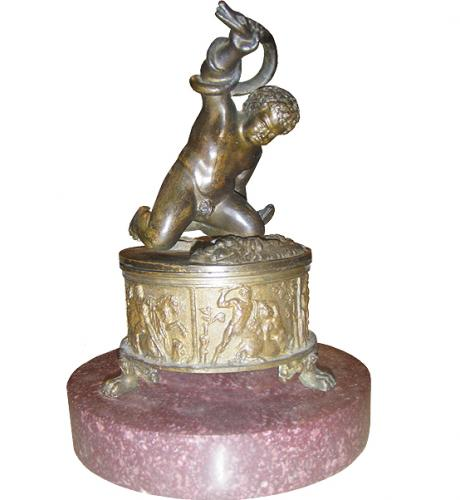An Early 19th Century Inkwell & Bronze Putti Figure No. 3742