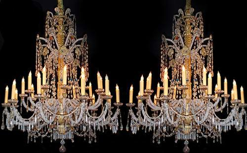 A Rare 18th Century Pair of 21-Light Genovese Parcel-Gilt and Crystal Chandeliers No. 2659