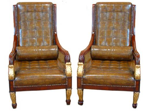 An Unusual Harlequin Pair of Italian Empire Mahogany and Parcel Gilt Arm Chairs No. 2480