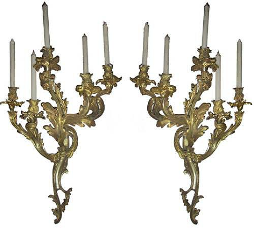 An Important Pair of Early 19th Century Louis XV Rococo Ormolu Wall Sconces No. 3770