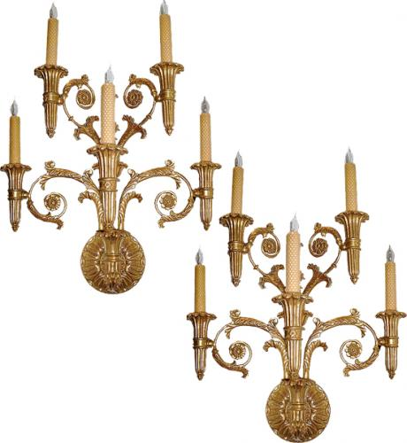 A Pair of Giltwood Girandole Wall Sconces No. 2908