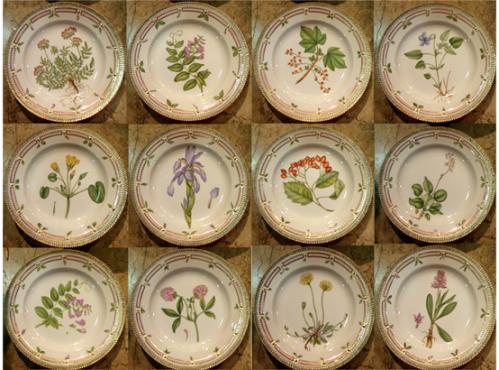 A 20th Century Set of Flora Danica Botanical Designs Dinnerware No. 3764