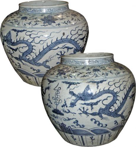 A Pair of 19th Century Chinese Blue Jars No. 3771