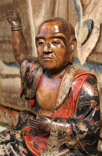 An 18th Century Polychromed Carved Wood Preaching Buddha No. 3775