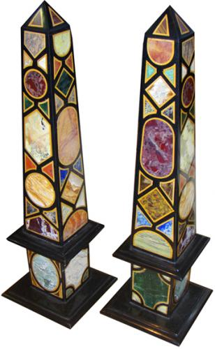 A Colorful Pair of Specimen Marble and other Semi-Precious Stone Obelisks No. 3783
