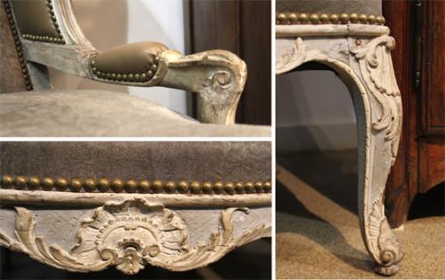 A Louis XV Fauteil Polychrome Wing Chair No. 3782
