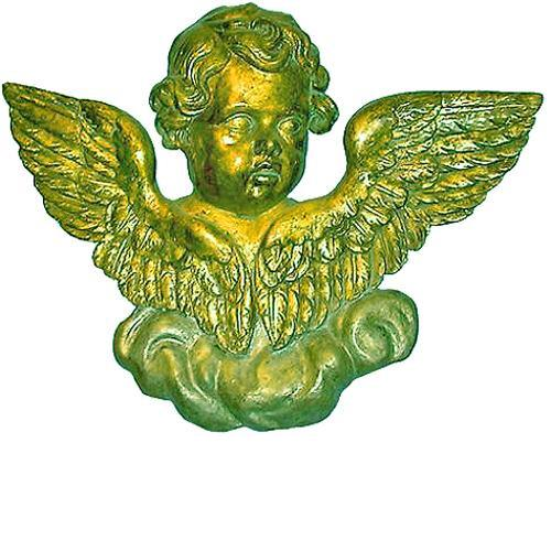 A Splendid Pair of 19th Century Italian Carved Winged Silver Gilt Putti Architectural Appliqués No. 26