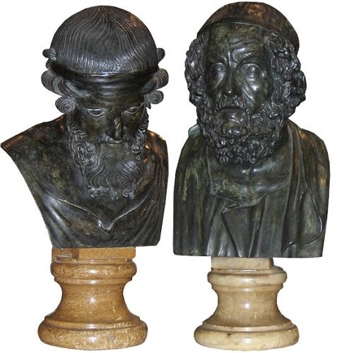A Pair of 19th Century Italian Cast Bronze Busts of Greek Philosophers No. 3821