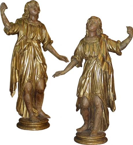 An Important Palazzo Scaled Pair of Polychrome and Giltwood Archangels No. 3835