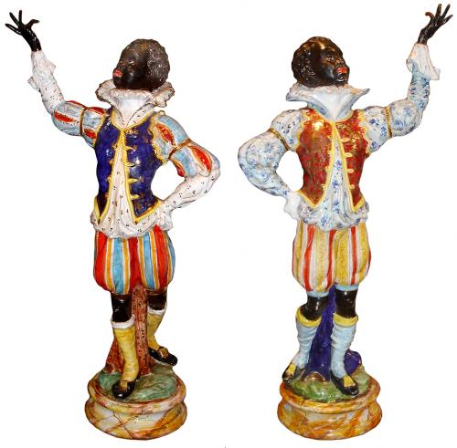 A Striking Pair of Large Venetian Blackamoor Ceramic Polychrome and Parcel Gilt Figurines No. 3228