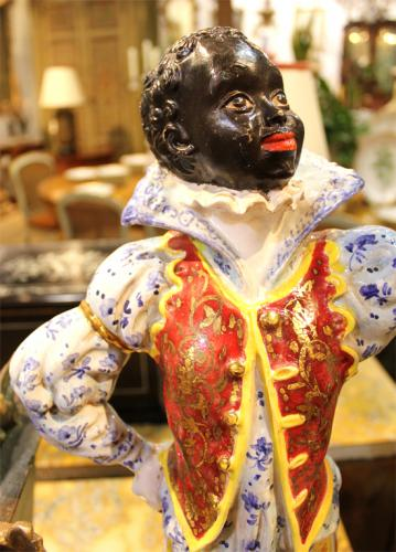 A Striking Pair of Large Venetian Blackamoor Ceramic Polychrome and Parcel-Gilt Figurines No. 3228