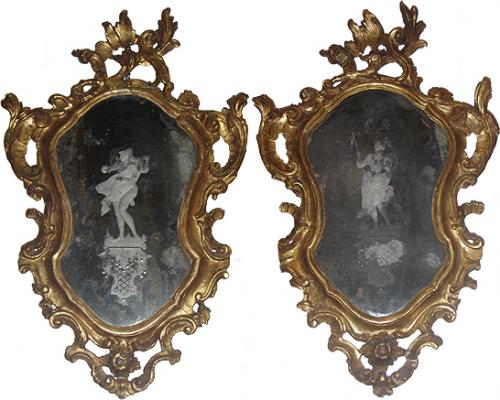 A Pair of 18th Century Giltwood and Etched Looking Glass Venetian Mirrors No. 3802