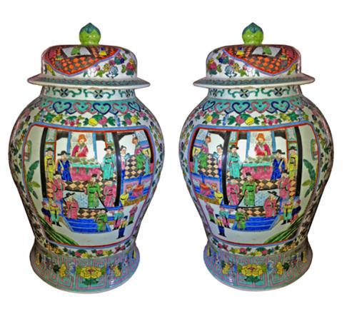 A Monumental Pair of 19th Century Chinese Urns with Lids No. 3888