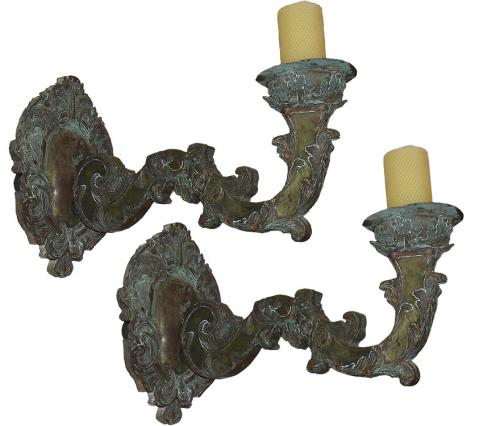 A Pair of Well Patinated 17th Century Italian Repoussé Appliqués No. 2317