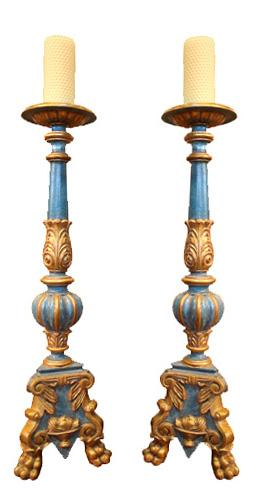 A 19th Century Pair of Ceruse Polychrome and Parcel-Gilt Pricket Sticks No. 3924