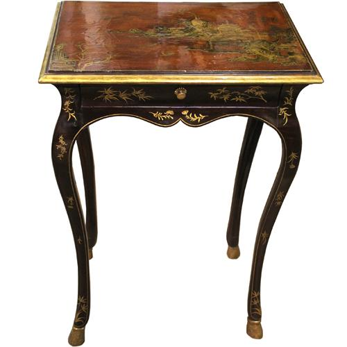 An 18th Century Louis XV Parcel Gilt on Black and Cinnabar Lacquer Chinoiserie Side Table No. 3929