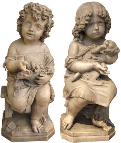 "A 19th Century Pair of Carrara Marble Statues, ""Joy and Sadness"" Signed by Milanese Master Sculptor Antonio Tantardini No. 2601"