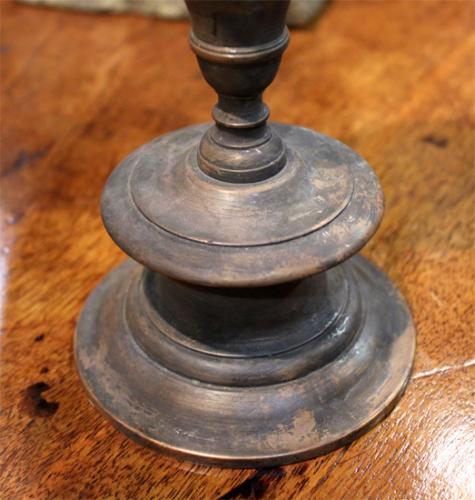 A 17th Century Diminutive Pair of Italian Brass Candlesticks No. 3877