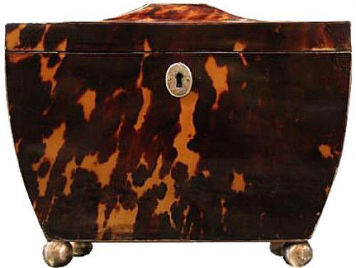 An Unusually Shaped 19th Century English Regency Tortoiseshell Tea Caddy No. 3944