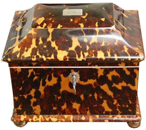 A 19th Century English Tortoiseshell Tea Caddy No. 3941