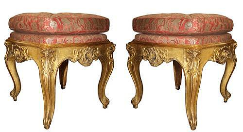 A Pair of 18th Century Italian Louis XV Giltwood Tabourets No. 3964