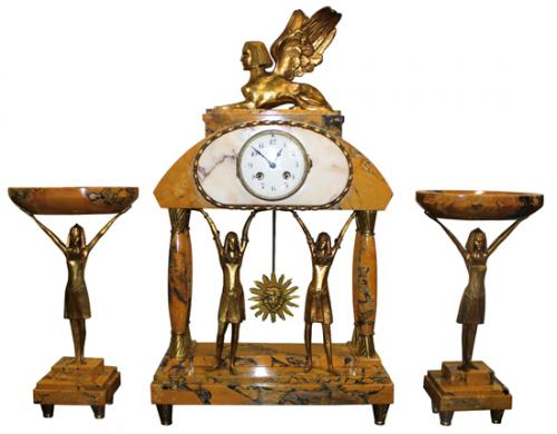 A Vintage French Egyptian Revival Yellow Siena Marble and Brass Mantel Clock Garniture Set No. 3970