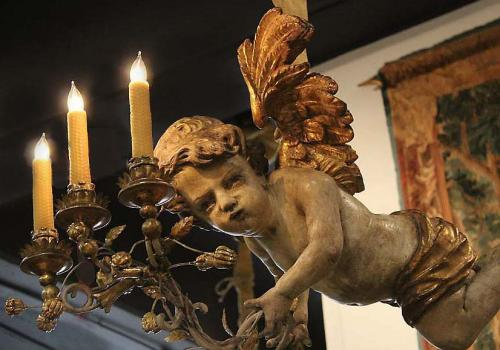 A Whimsical 18th Century Three-Light Italian Polychrome and Parcel-Gilt Angel Chandelier No. 4004