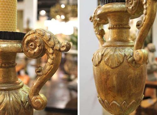 A Pair of 18th Century Giltwood Urn Candlesticks No. 3920