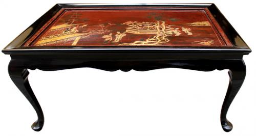 An Impressive 19th Century English Chinoiserie Tray Inset Coffee Table No