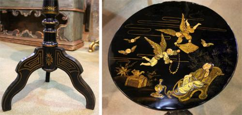 A 19th Century English Regency Chinoiserie Lacquer Side Table No. 4050