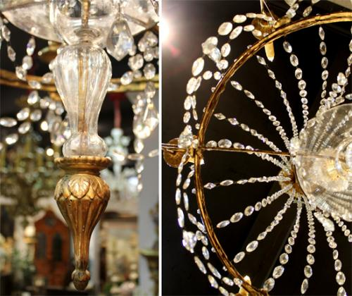 A Simply Elegant 18th Century Italian Louis XVI Six-Light Bronze Doré and Crystal Chandelier No. 4053