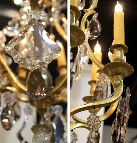 A Glittering 19th Century Italian Six-Light Gilt Bronze and Rock Crystal Chandelier No. 4055