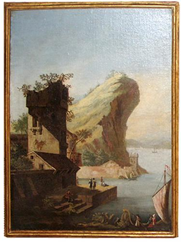 "An 18th Century ""Capriccio"" Waterfront Landscape Oil Painting No. 3865"