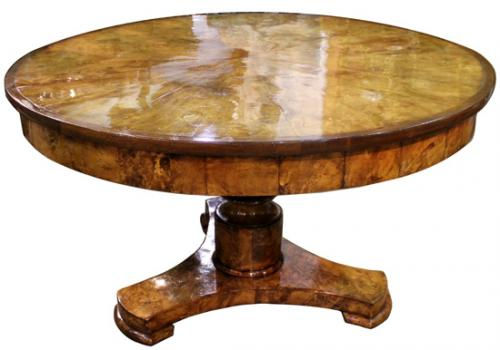 A 19th Century Italian Burl Elm Wood Center Table No. 4103