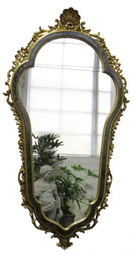 A Rare 18th Century Italian Green Tortoiseshell and Gilt Wood Mirror No. 4052
